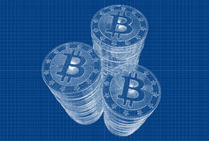 Bitcoin - Blueprint sketch Royalty Free Stock Photography