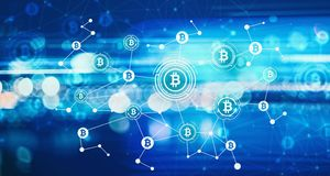 Bitcoin with blurred abstract lights Stock Images