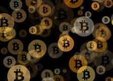 Bitcoin Bokeh abstrakt begreppbakgrund arkivbild