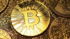 Bitcoin brillante brillante entonces sombrea macro cubierta metrajes