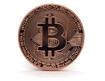 Bitcoin bronzeo BTC isolato su un fondo bianco fotografie stock libere da diritti