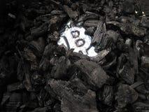Bitcoin bryta En min med verklig maskinvara royaltyfri fotografi