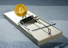 Bitcoin BTC as a mouse trap concept. Metaphor Stock Photography
