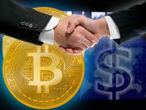Bitcoin BTC in businessman handshake Royalty Free Stock Photo