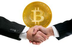 Bitcoin BTC in businessman handshake Royalty Free Stock Image