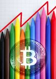 Bitcoin BTC chart pencils graphic chart earnings. Report history Stock Image