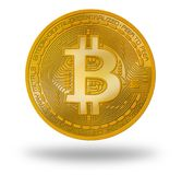 Bitcoin BTC coin with logo isolated on white royalty free stock photos