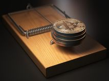 Bitcoin BTC coins in the mousetrap. Financial invetsment risk co. Ncept. 3d illustration Royalty Free Stock Image