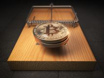 Bitcoin BTC coins in the mousetrap. Financial invetsment risk co. Ncept. 3d illustration Royalty Free Stock Photos