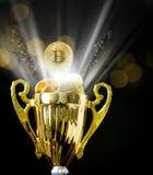 Bitcoin BTC coins on trophy. Background  Image  Bokeh light Stock Photos
