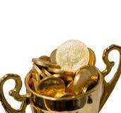 Bitcoin BTC coins on trophy.  Stock Photography