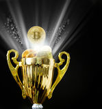 Bitcoin BTC coins on trophy.  Stock Image
