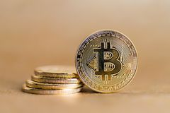 Bitcoin concept coin Royalty Free Stock Images
