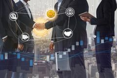Bitcoin BTC and Cryptocurrency Payment Accept. Bitcoin (BTC) and cryptocurrency payment acceptance concept - Businessman handshaking showing accepted payment by stock photo