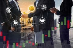 Bitcoin BTC and Cryptocurrency Payment Accept. Ance concept - Businessman handshaking showing accepted payment by using Bitcoin. Blockchain and financial royalty free stock photos