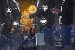 Bitcoin BTC and Cryptocurrency Payment Accept. Ance concept - Businessman handshaking showing accepted payment by using Bitcoin. Blockchain and financial royalty free stock photography