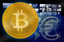 Bitcoin BTC gegen Eurosymbol stockbilder
