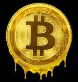 Melted Bitcoin or BTC failure concept 3d illustration Stock Photos