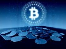 Bitcoin BTC hologram ledd svävande över kollapsade vanliga mynt på den gamla huvudbokboken stock illustrationer