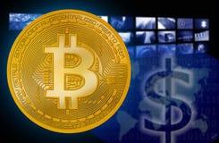 Bitcoin BTC mot det dollarUSD symbolet royaltyfri foto