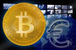 Bitcoin BTC mot eurosymbol arkivbilder