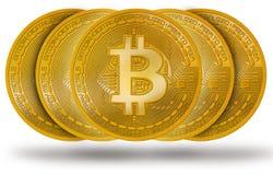 Bitcoin BTC mynt med logo som isoleras på vit arkivfoto