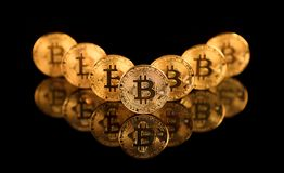 Bitcoin BTC the new virtual internet Cryptocurrency isolated on. Black background. Concept of future currency Royalty Free Stock Photography