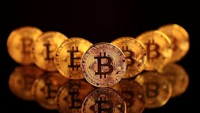 Bitcoin BTC nieuwe virtuele Internet-cryptocurrency stock footage