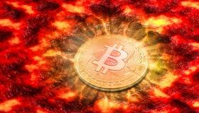 Bitcoin BTC som svävar på lava och omkring att sjunka och förstöras, lek över Begrepp för för pris droppe extremt stock illustrationer