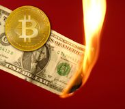 Bitcoin BTC versus dollar burning in fire. Takeover concept stock images