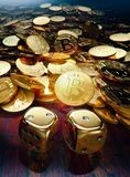 Bitcoin bubble game play with golden dice. Bitcoin bubble game of chance, stack of coins and golden dice, 3D illustration Royalty Free Stock Photo