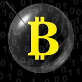 Bitcoin bubble. Bitcoin in bubble whit needle Royalty Free Stock Image