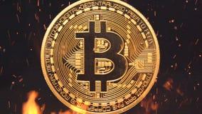 Bitcoin - burning crypto del dinero de la moneda de la moneda BTC del pedazo almacen de video