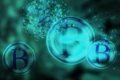Bitcoin burst. Concept of digital currency. Bitcoin sign bubbles on a blured circuit board background burst stock illustration