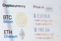 Bitcoin business chart Stock Images