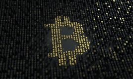 Bitcoin. Calculation of hash or mining. Currency sign builded from digits on the chip. stock photos