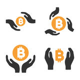Bitcoin Care Hands Vector Icon Set. Style is bicolor flat symbols Vector Illustration