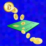 Bitcoin, carta di credito, dollaro, su fondo blu Vettore illustrazione vettoriale