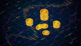 Bitcoin cash on background of stock market graph. Isometric business graph with tending.Candle stick stock market tracking graph. Forex trading in perspective stock images