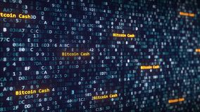 Bitcoin Cash captions appearing among changing hexadecimal symbols on a computer screen. 3D rendering. Bitcoin Cash captions appearing among changing hexadecimal Royalty Free Stock Image