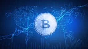 Bitcoin cash coin on hud background with bull stock chart. Royalty Free Stock Image
