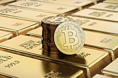 Bitcoin Cash coins laying on stacked gold bars gold ingots rendered with shallow depth of field. Royalty Free Stock Photography