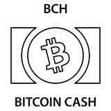 Bitcoin cash cryptocurrency blockchain icon. Virtual electronic, internet money or cryptocoin symbol, logo. Vector illustration Royalty Free Stock Photography