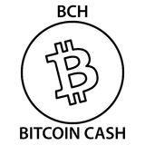 Bitcoin cash cryptocurrency blockchain icon. Virtual electronic, internet money or cryptocoin symbol, logo. Vector illustration Royalty Free Stock Image