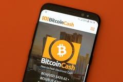 Bitcoin Cash website displayed on the smartphone screen. KYRENIA, CYPRUS - SEPTEMBER 12, 2018: Bitcoin Cash website displayed on the smartphone screen. Bitcoin stock photography