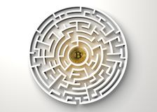 Bitcoin in the central point of maze view from above. Bitcoin in the central point of maze view from above stock illustration