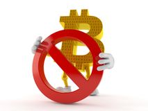 Bitcoin character with forbidden symbol. Isolated on white background. 3d illustration Royalty Free Stock Photography