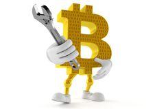 Bitcoin character holding adjustable wrench. Isolated on white background. 3d illustration Stock Images