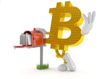 Bitcoin character with mailbox. On white background stock illustration