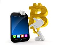 Bitcoin character with smart phone. Isolated on white background. 3d illustration Stock Photo